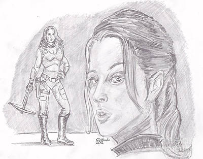 Drawing - Scarlett by Chris  DelVecchio
