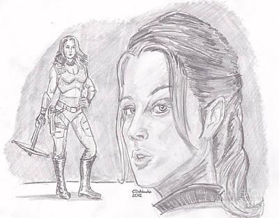 Drawing - Scarlett by Chris  DelVecchio