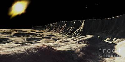 Incline Digital Art - Scarp On Mercury by Ron Miller