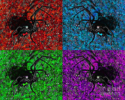 Poisonous Digital Art - Scary Spider Serigraph by Al Powell Photography USA