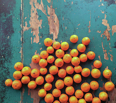 Tangerine Photograph - Scattered Tangerines by Sarah Palmer