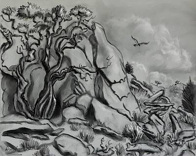 Raptors Drawing - Scene In The Cedar Breaks by Dawn Senior-Trask