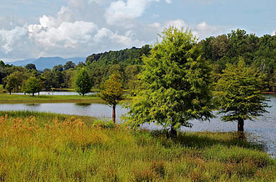 Scenic Lake With Mountains Art Print by Susan Leggett