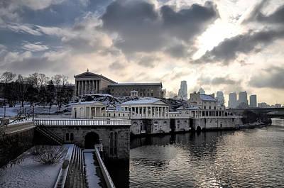 Waterworks Digital Art - Scenic Philadelphia Winter by Bill Cannon