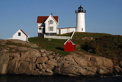 Scenic View Of Nubble Light Art Print by Darlyne A. Murawski