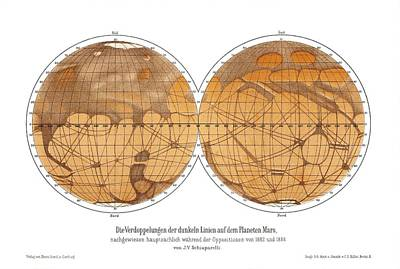 Schiaparelli's Map Of Mars, 1882-1888 Art Print by Detlev Van Ravenswaay