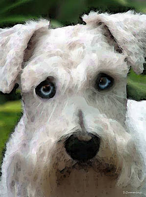 Dogs Digital Art - Schnauzer Art - Smokey by Sharon Cummings