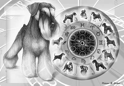 Miniature Schnauzer Digital Art - Schnauzer Zodiac by Katerina A Cechova