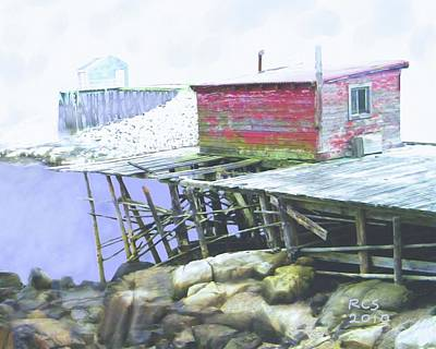 Shed Digital Art - Schoodic Pier by Richard Stevens
