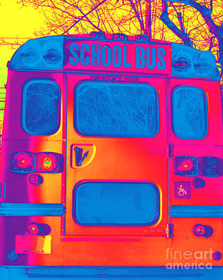 Photograph - School Bus Back Altered by Susan Stevenson