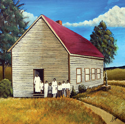 Black History Painting - School House by Stacy V McClain