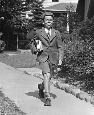 Schoolboy On Sidewalk Art Print by George Marks