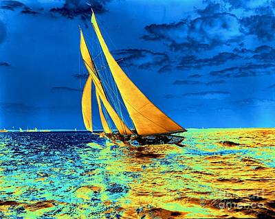 Schooner Ariel's Golden Sails 1899 Art Print by Padre Art