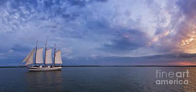 Schooner Photograph - Schooner Pride Sunset Charleston Sc by Dustin K Ryan