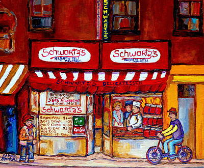 Painting - Schwartz's Deli-montreal Street Scenes-painting-by  Quebec Artist-carole Spandau by Carole Spandau
