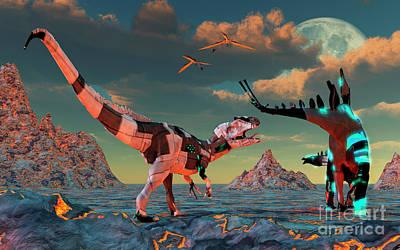 Allosaurus Digital Art - Sci-fi Scene Of Allosaurus by Mark Stevenson