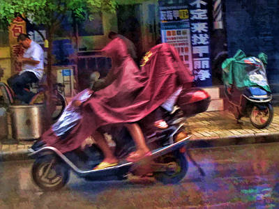 Travel Photograph - Scootering In The Rain - Guilin China by Helaine Cummins