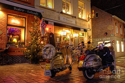Scooters At The Bistro Art Print by Rob Hawkins