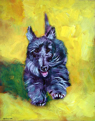 Scottish Dog Painting - Scottie Trot  - Scottish Terrier by Lyn Cook