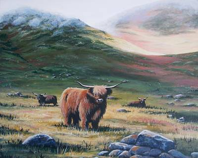 Painting - Scottish Highland Cattle by Anne Gardner