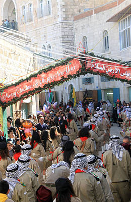 Scouts Marching During Christmas Parade In Bethlehem Original by Munir Alawi
