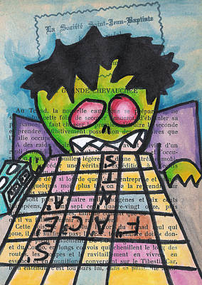 Scrabble Zombie Art Print by Jera Sky