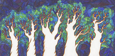 Gaia Drawing - Scratch Trees by James Davidson