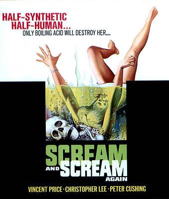 Horror Movies Photograph - Scream And Scream Again, Window Card by Everett