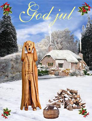 Norway Mixed Media - Scream Norway Christmas God Jul by Eric Kempson