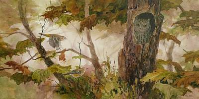 Wall Art - Painting - Screech Owl And Warblers by Floy Zittin