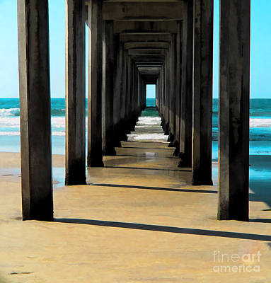 Digital Art - Scripps Pier by L J Oakes