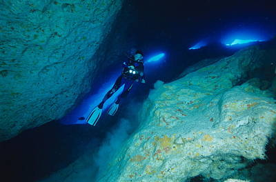 Scuba Diver In A Cave Art Print by Alexis Rosenfeld