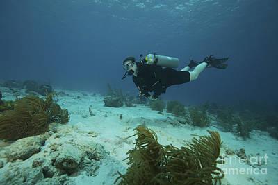 Scuba Diver Swimming Underwater Art Print