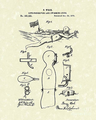 Scuba Diving Drawing - Scuba Suit 1876 Patent Art by Prior Art Design