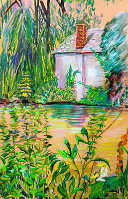 Oil Pastel Drawing - Sculptors Home And Studio On Oxfordshire Canal by Mindy Newman