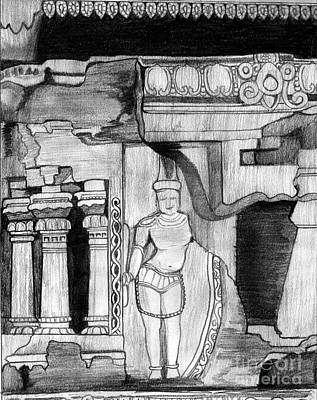 Shashi Kumar Drawing - Sculpture At Hampi by Shashi Kumar