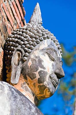 Sculpture Buddha Face Texture Detail Art Print by Chatuporn Sornlampoo
