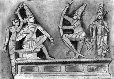 Shashi Kumar Drawing - Sculpture Scene From Ramayana  by Shashi Kumar