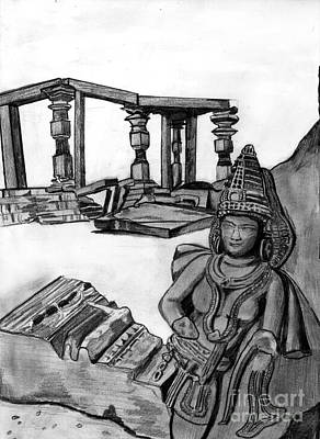 Shashi Kumar Drawing - Sculptures And Monuments by Shashi Kumar