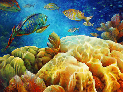 Brain Coral Painting - Sea Escape I - Color Queens by Nancy Tilles