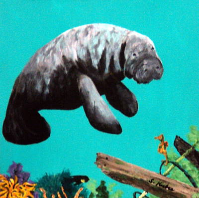 Painting - Sea Horse And Manatee by Susan Kubes