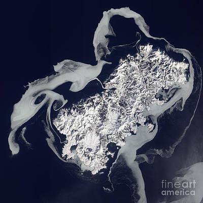 Sea Ice Surrounds The Volcanic Island Art Print by Stocktrek Images