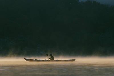Sea Kayak Silhouette On Potomac River Art Print by Skip Brown