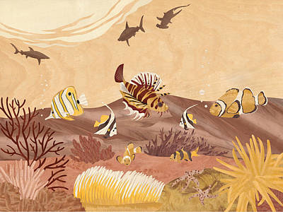 Marquetry Mixed Media - Sea Life - Wood Art by Vincent Doan