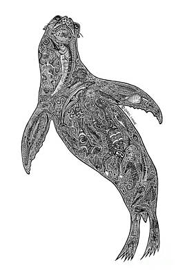 Scuba Diving Drawing - Sea Lion by Carol Lynne