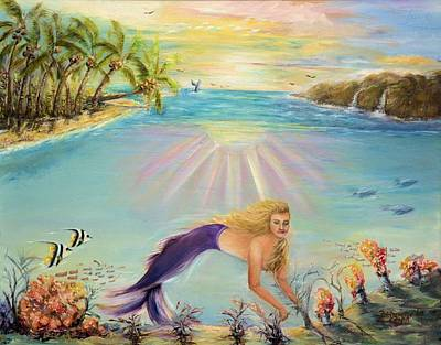 Angel Mermaids Ocean Painting - Sea Mermaid Goddess by Bernadette Krupa
