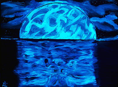 Depression Painting - Sea Of Troubles Black Light by Lisa Brandel