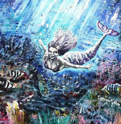Angel Mermaids Ocean Painting - Sea Surrender by Shana Rowe Jackson