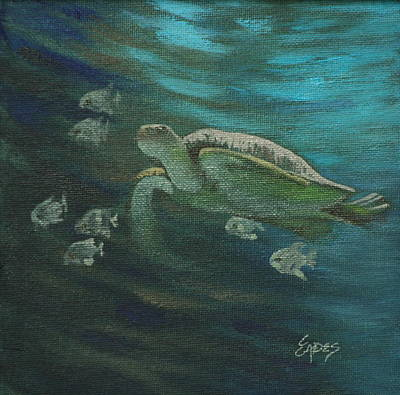 Fish Underwater Painting - Sea Turtle And Fish by Linda Eades Blackburn
