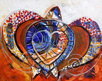 Sea Turtle Love - Orange And White Original by J Vincent Scarpace